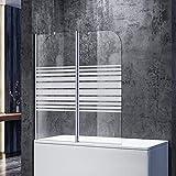 SONNI Duschwand für Badewanne 120x140cm (BxH) Milchglas...